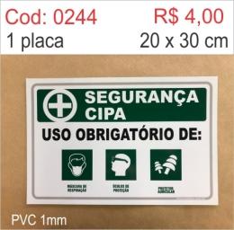Saldão - Placa Segurança - Uso Obrigatório de: Máscara de Respiração, Óculos de Proteção, Protetor Auricular