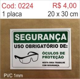 Saldão - Placa Segurança - Uso Obrigatório de Óculos de Proteção