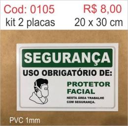 Saldão - Placa Segurança - Uso Obrigatório de Protetor Facial