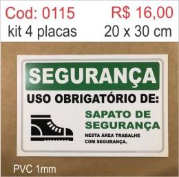 Saldão - Placa Segurança - Uso Obrigatório de Sapato de Segurança