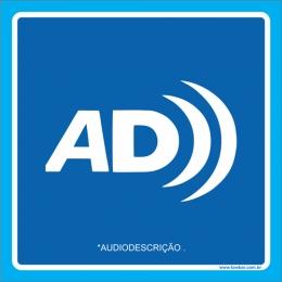 Placa símbolo audiodescrição