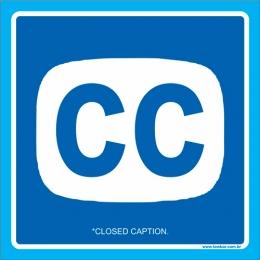 Placa símbolo Closed Caption (legendas ocultas)