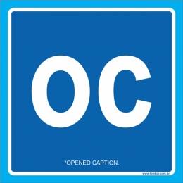 Placa símbolo Opened Caption (legendas vísiveis)