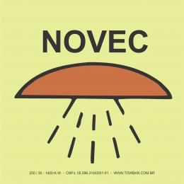 Espaço protegido por sistema Novec (Space protected by NOVEC system)