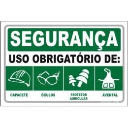 Uso Obrigatório de Capacete, Óculos, Auricular, Avental