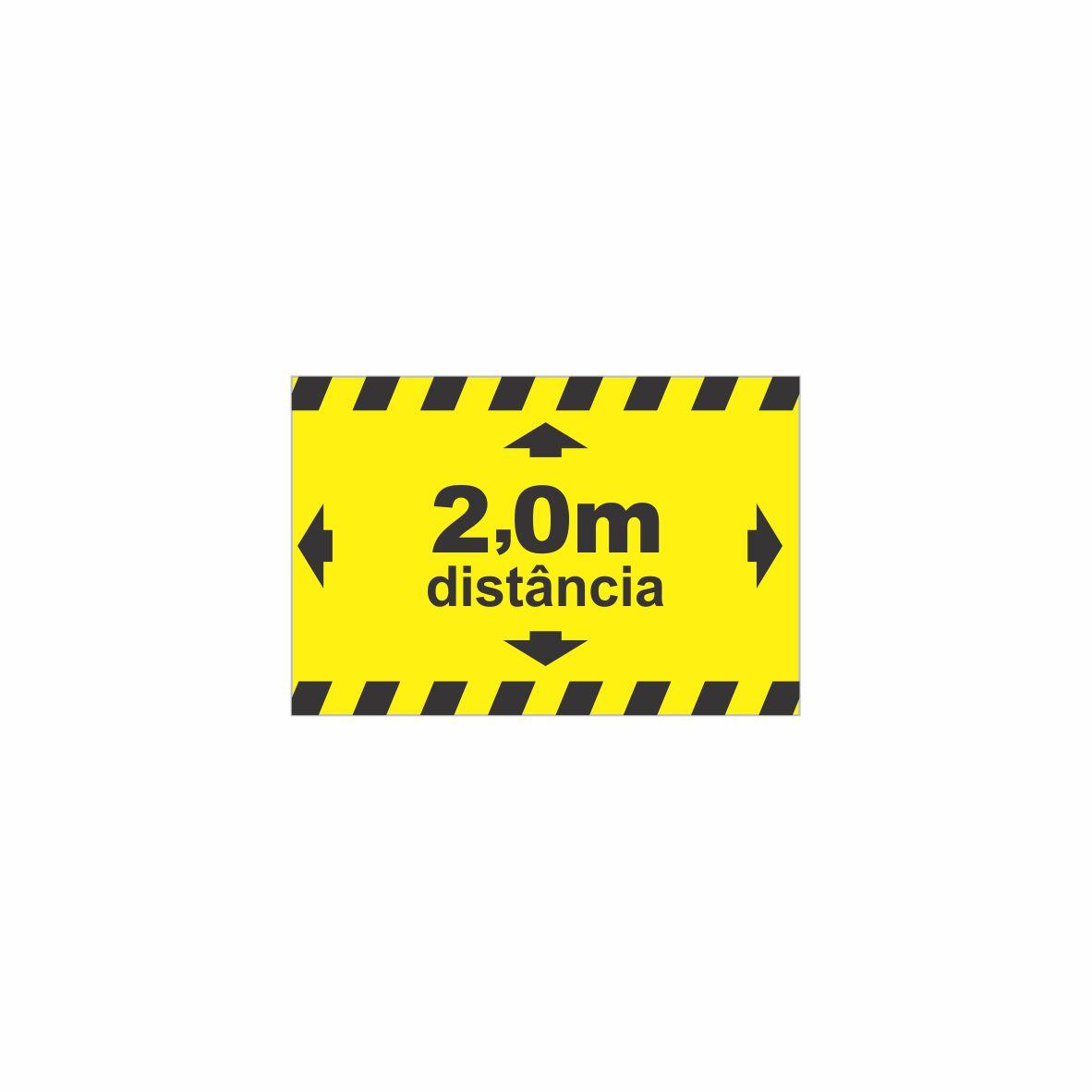 Adesivo para solo Distanciamento 2 metros - retangular  - Towbar Sinalização de Segurança