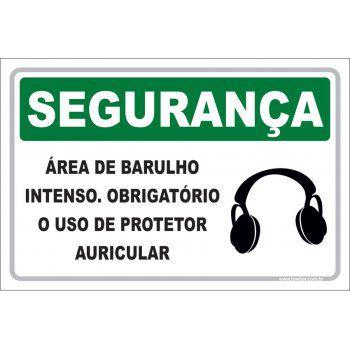 Área de Barulho Interno Obrigatório Uso Protetor Auricular  - Towbar Sinalização de Segurança