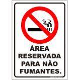Área reservada para não fumantes  - Towbar Sinalização de Segurança