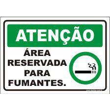Área preservada só para fumantes  - Towbar Sinalização de Segurança