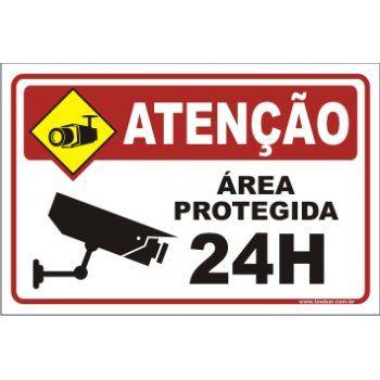 Área protegida 24 horas  - Towbar Sinalização de Segurança