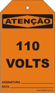 Atenção - 110 Volts  - Towbar Sinalização de Segurança