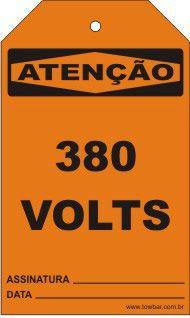 Atenção - 380 Volts  - Towbar Sinalização de Segurança