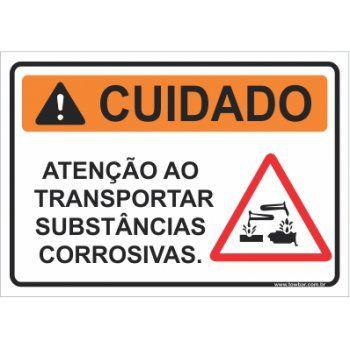 Atenção ao transportar substâncias corrosivas  - Towbar Sinalização de Segurança