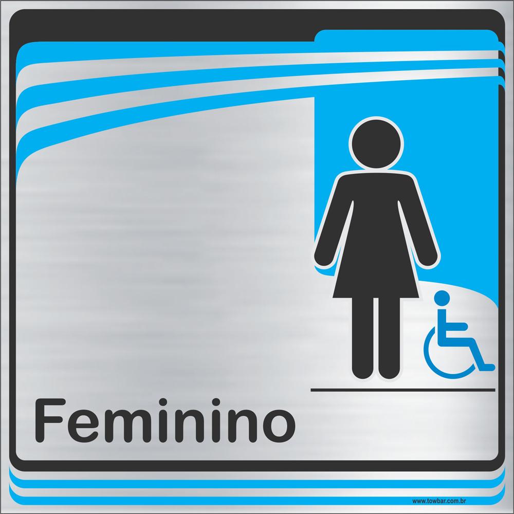 Identificação Banheiro feminino inclusivo (20x20cm)  - Towbar Sinalização de Segurança