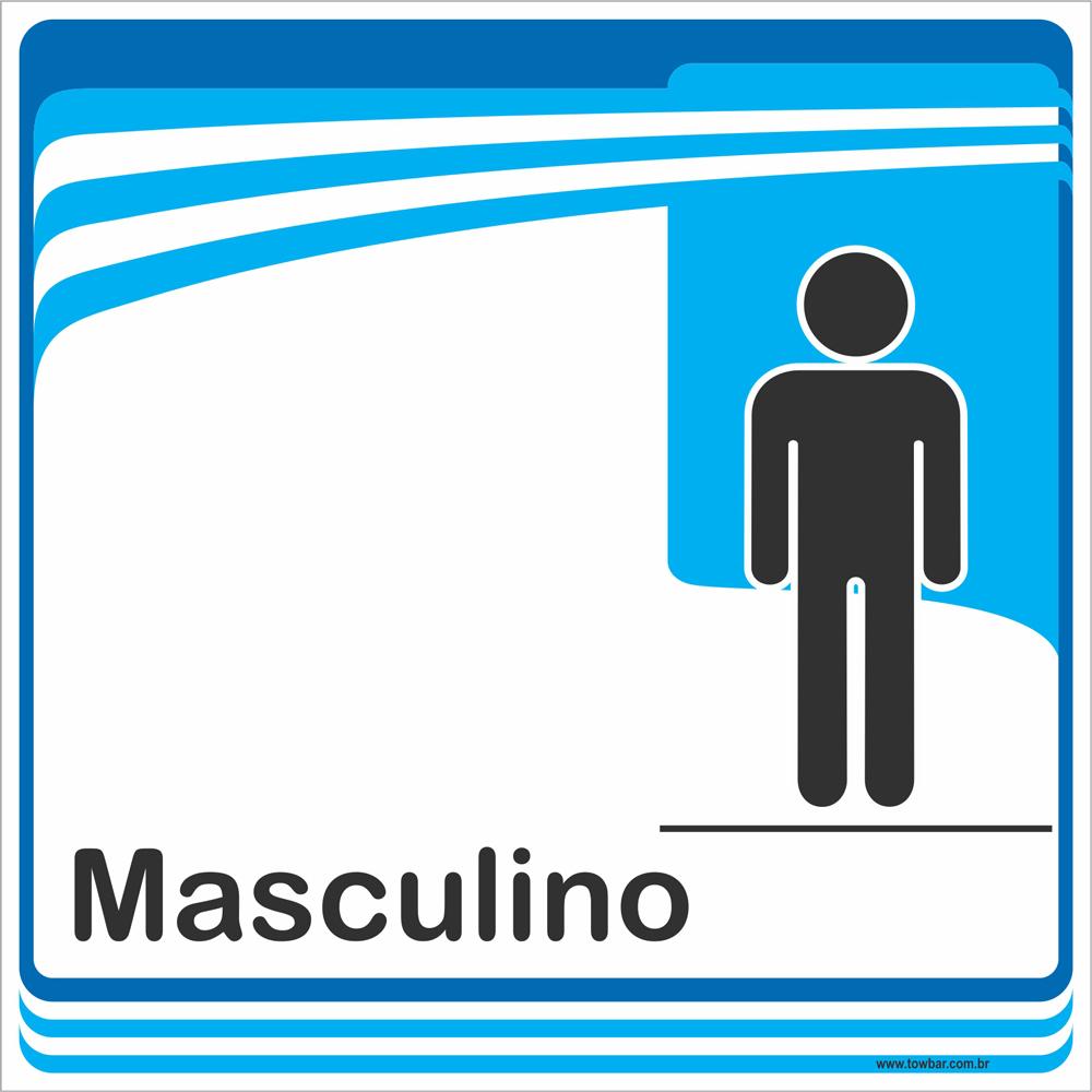 Identificação Banheiro Masculino (20x20cm)  - Towbar Sinalização de Segurança