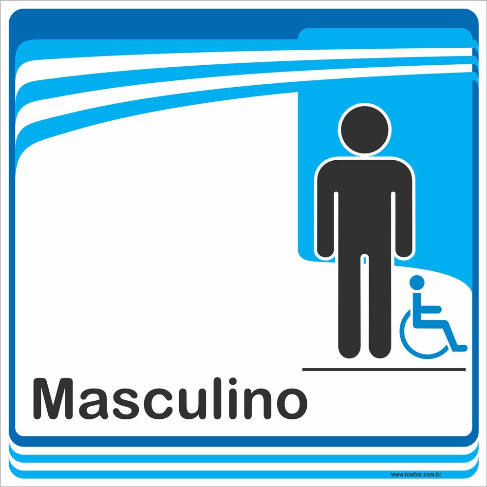 Identificação Banheiro Masculino inclusivo (20x20cm)  - Towbar Sinalização de Segurança