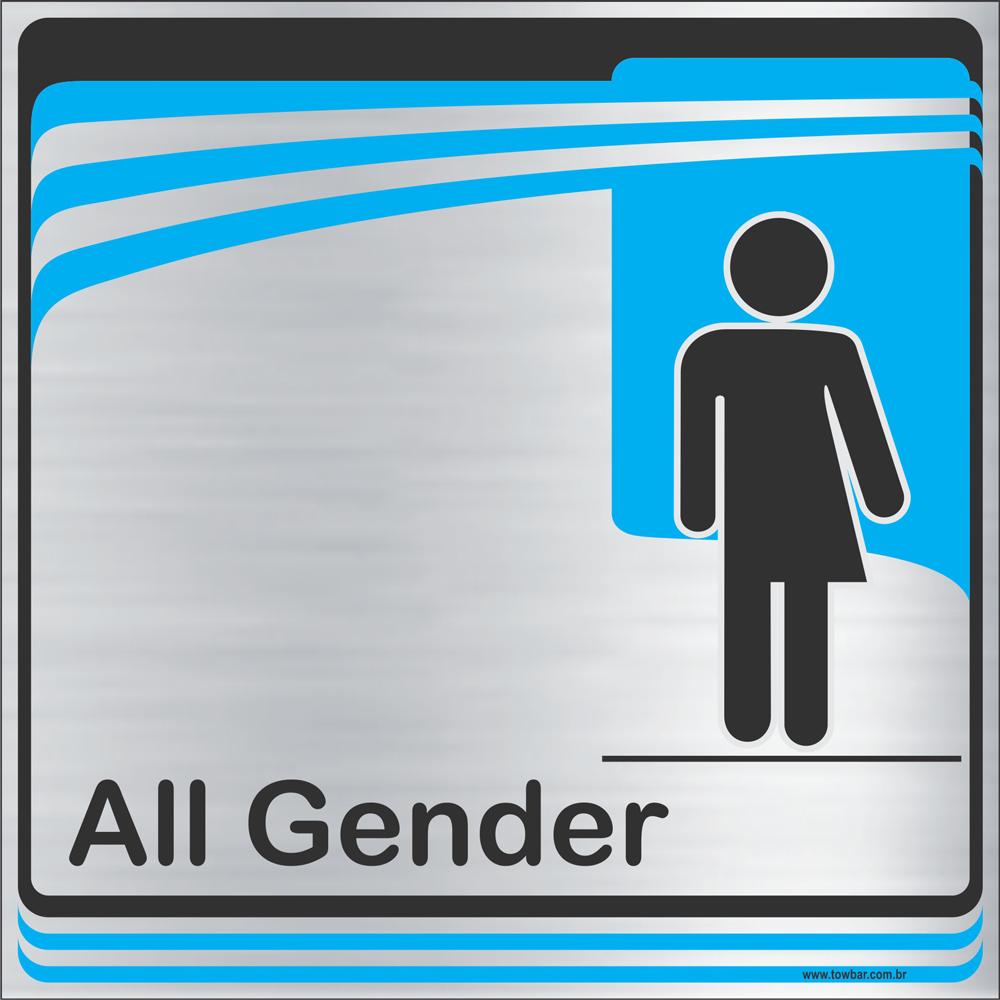 Identificação Banheiro todos os gêneros (20x20cm)  - Towbar Sinalização de Segurança