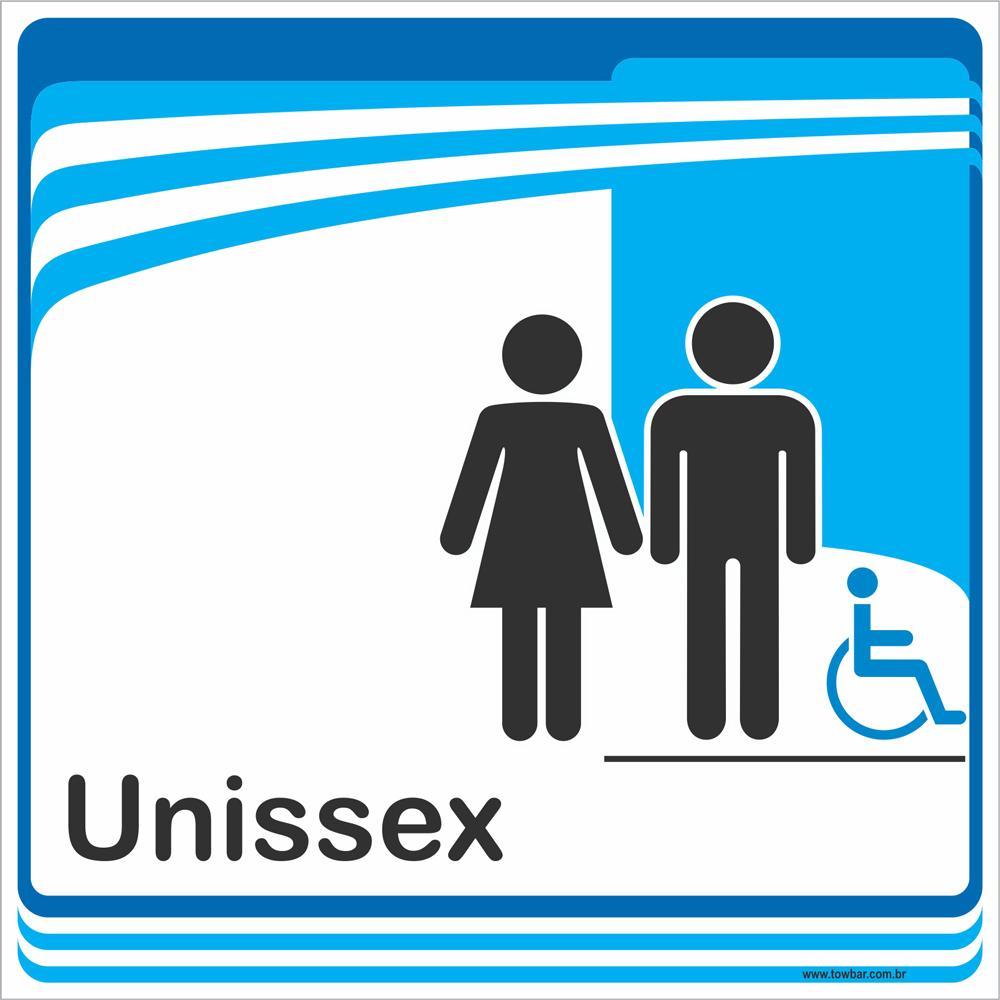 Identificação Banheiro Unissex inclusivo (20x20cm)  - Towbar Sinalização de Segurança