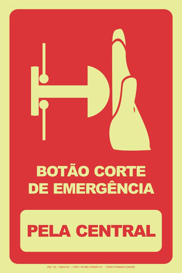 Botão Corte de Emergência - Pela Central  - Towbar Sinalização de Segurança
