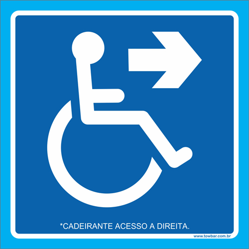 Placa cadeirante acesso à direita   - Towbar Sinalização de Segurança