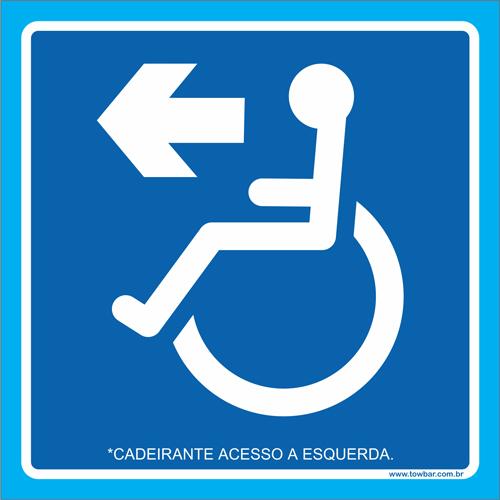 Placa cadeirante acesso à esquerda  - Towbar Sinalização de Segurança