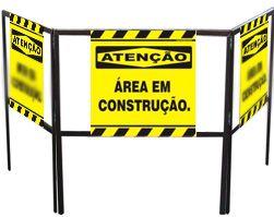 Cavalete biombo - Área em construção  - Towbar Sinalização de Segurança