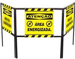 Cavalete biombo - Área energizada  - Towbar Sinalização de Segurança