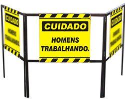 Cavalete biombo - Homens trabalhando  - Towbar Sinalização de Segurança