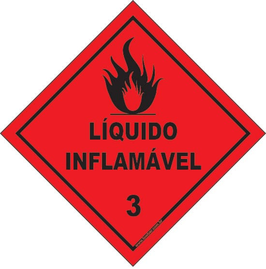 Classe 3 - Líquido inflamável 3  - Towbar Sinalização de Segurança
