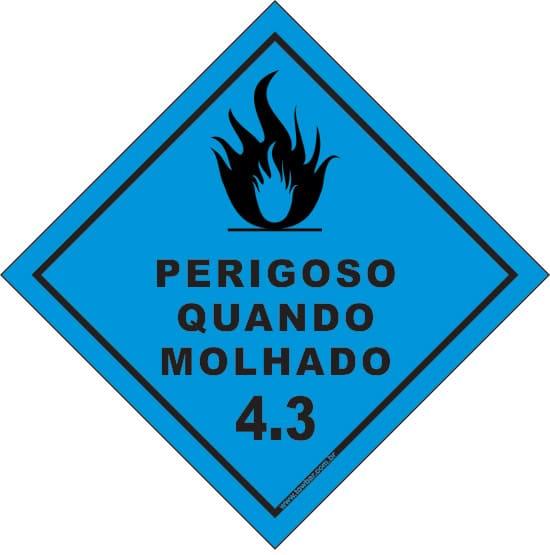 Classe 4 - Perigoso Quando Molhado 4.3  - Towbar Sinalização de Segurança