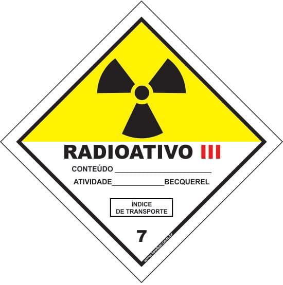 Classe 7 - Radioativo III  - Towbar Sinalização de Segurança