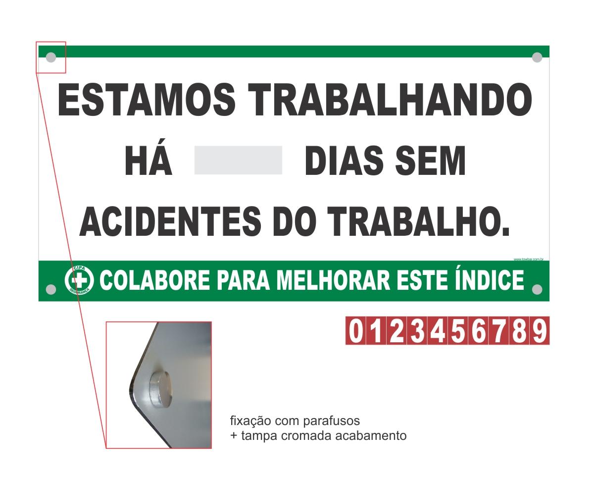 Placar Contagem de acidente CIPA  - Towbar Sinalização de Segurança