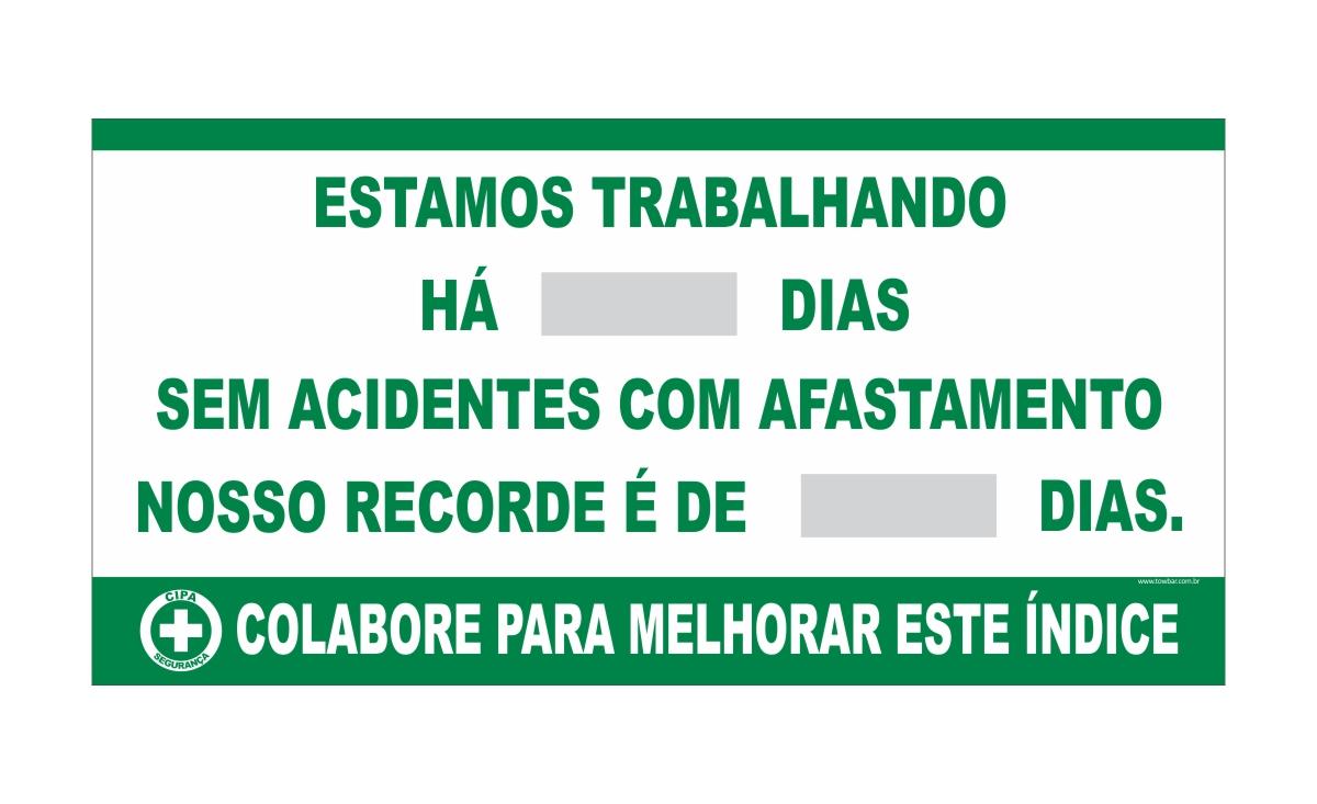 Placar Contagem de acidente CIPA com recorde  - Towbar Sinalização de Segurança