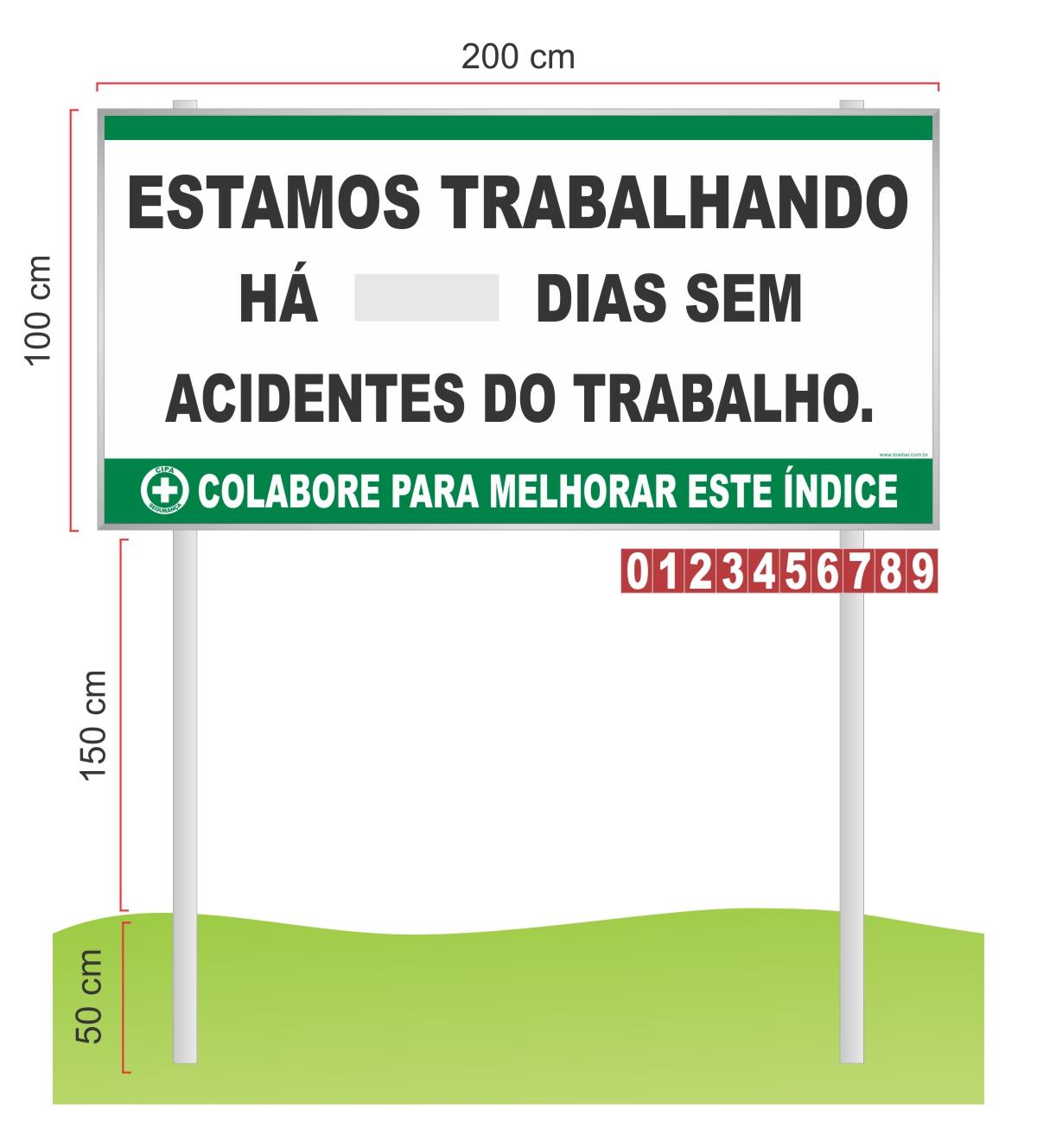 Placar Contagem de acidente CIPA com pedestal  - Towbar Sinalização de Segurança