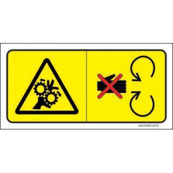 Cuidado máquinas com movimentação rotativa  - Towbar Sinalização de Segurança