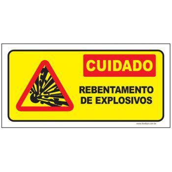 Cuidado rebentamento de explosivos  - Towbar Sinalização de Segurança
