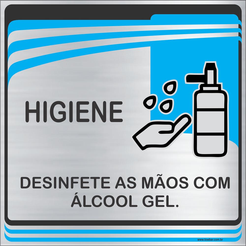 Placa Desinfete as Mãos com Álcool Gel (15x15cm)  - Towbar Sinalização de Segurança