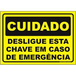 Desligue Esta Chave Em Caso de Emergência  - Towbar Sinalização de Segurança