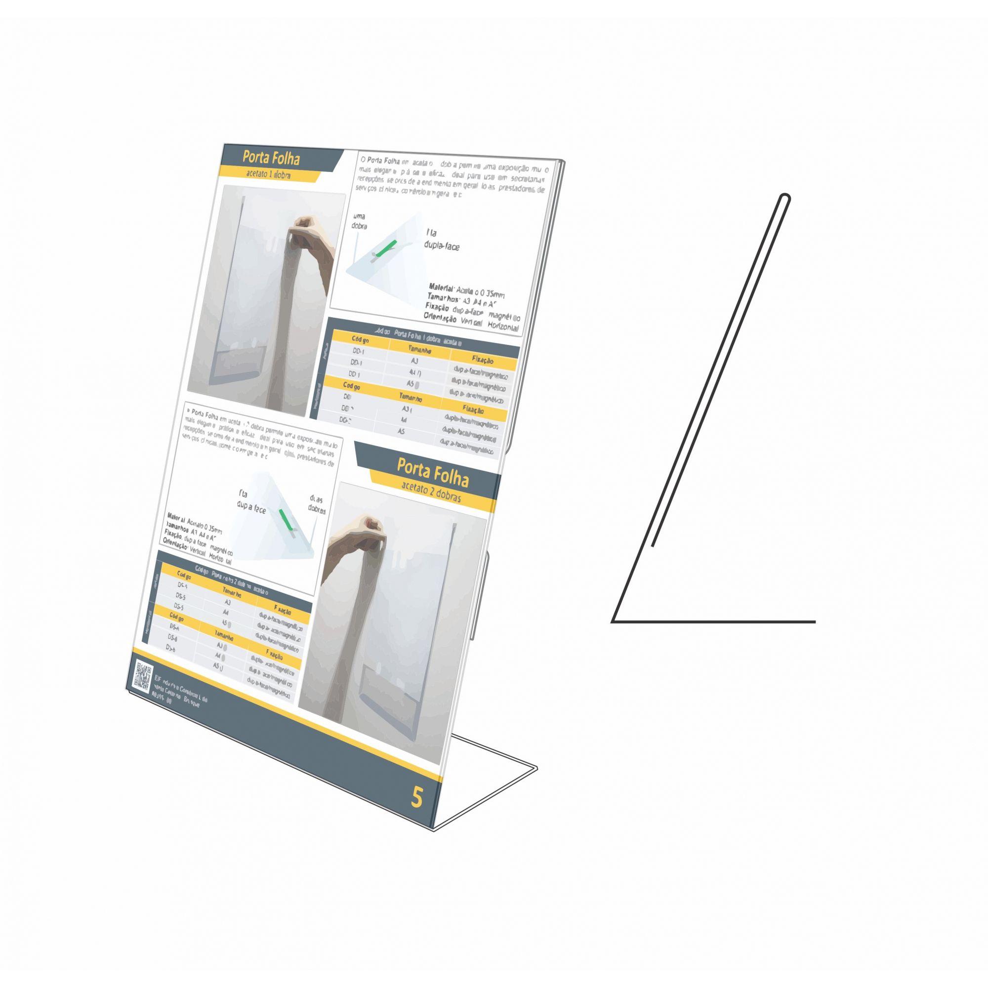 Display de mesa tipo L em acrílico   - Towbar Sinalização de Segurança