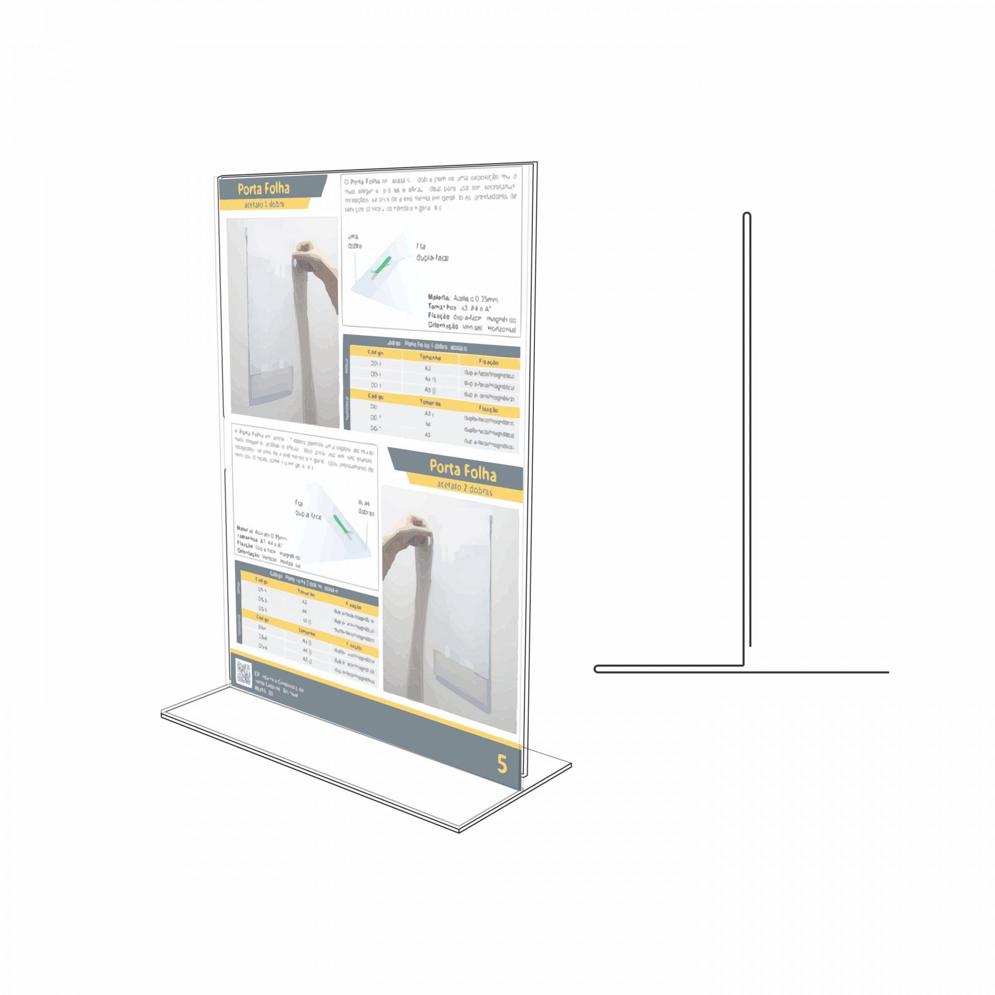 Display de mesa tipo T em acrílico   - Towbar Sinalização de Segurança