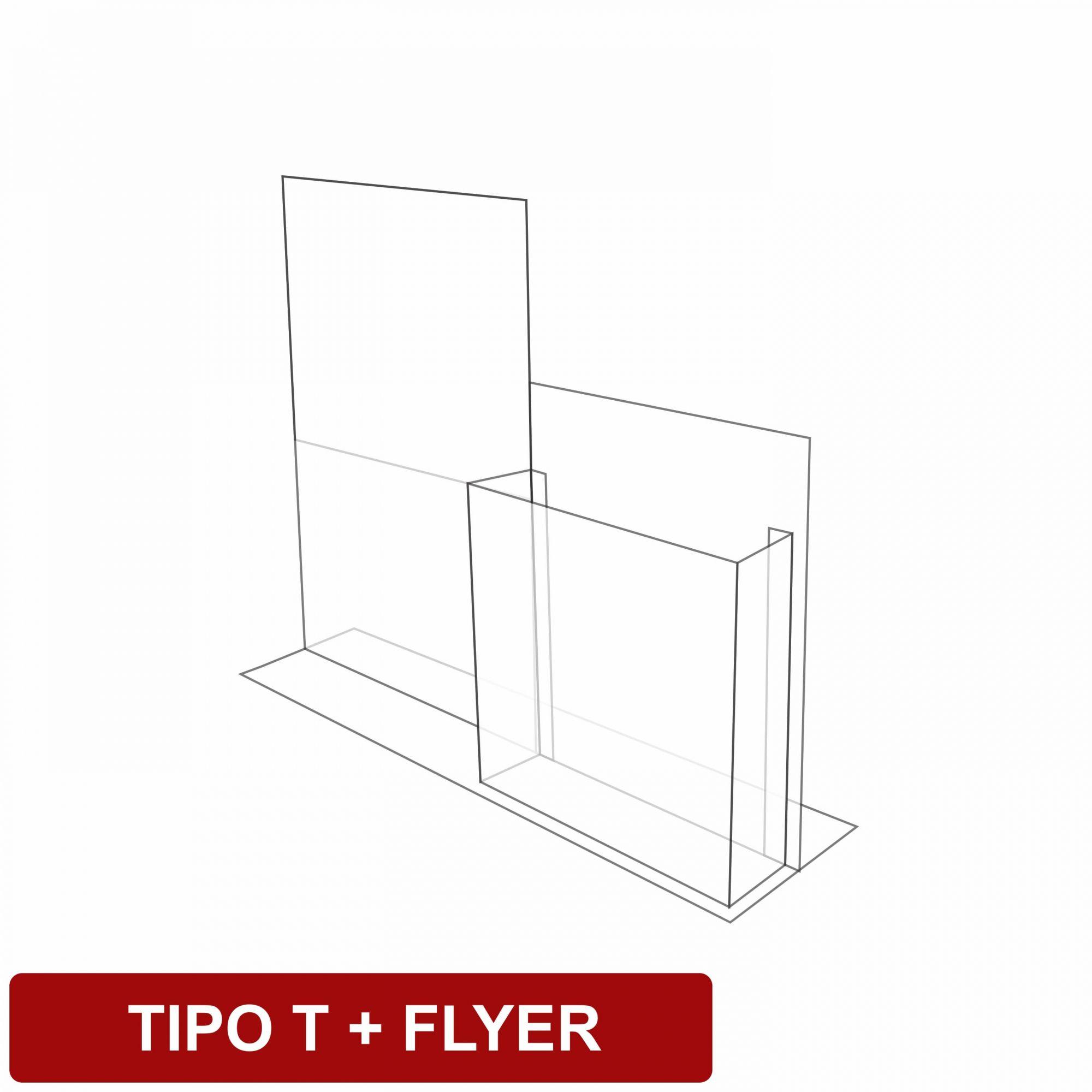 Display de mesa tipo T + flyer em acrílico   - Towbar Sinalização de Segurança