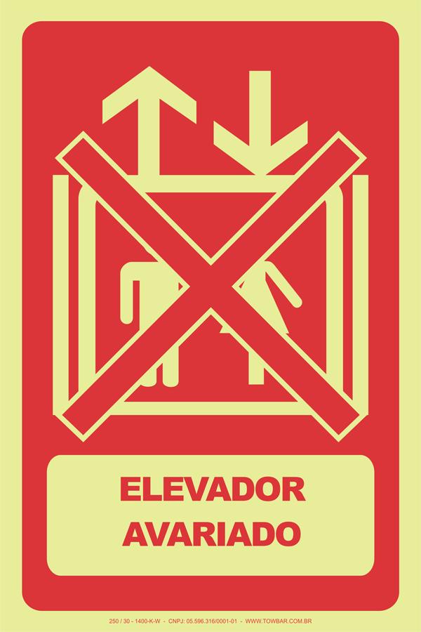 Elevador Avariado  - Towbar Sinalização de Segurança
