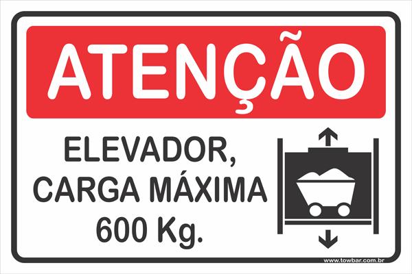 Elevador carga máxima 600 kg  - Towbar Sinalização de Segurança