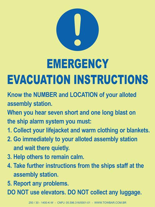 Emergency Evacuation Instructions  - Towbar Sinalização de Segurança