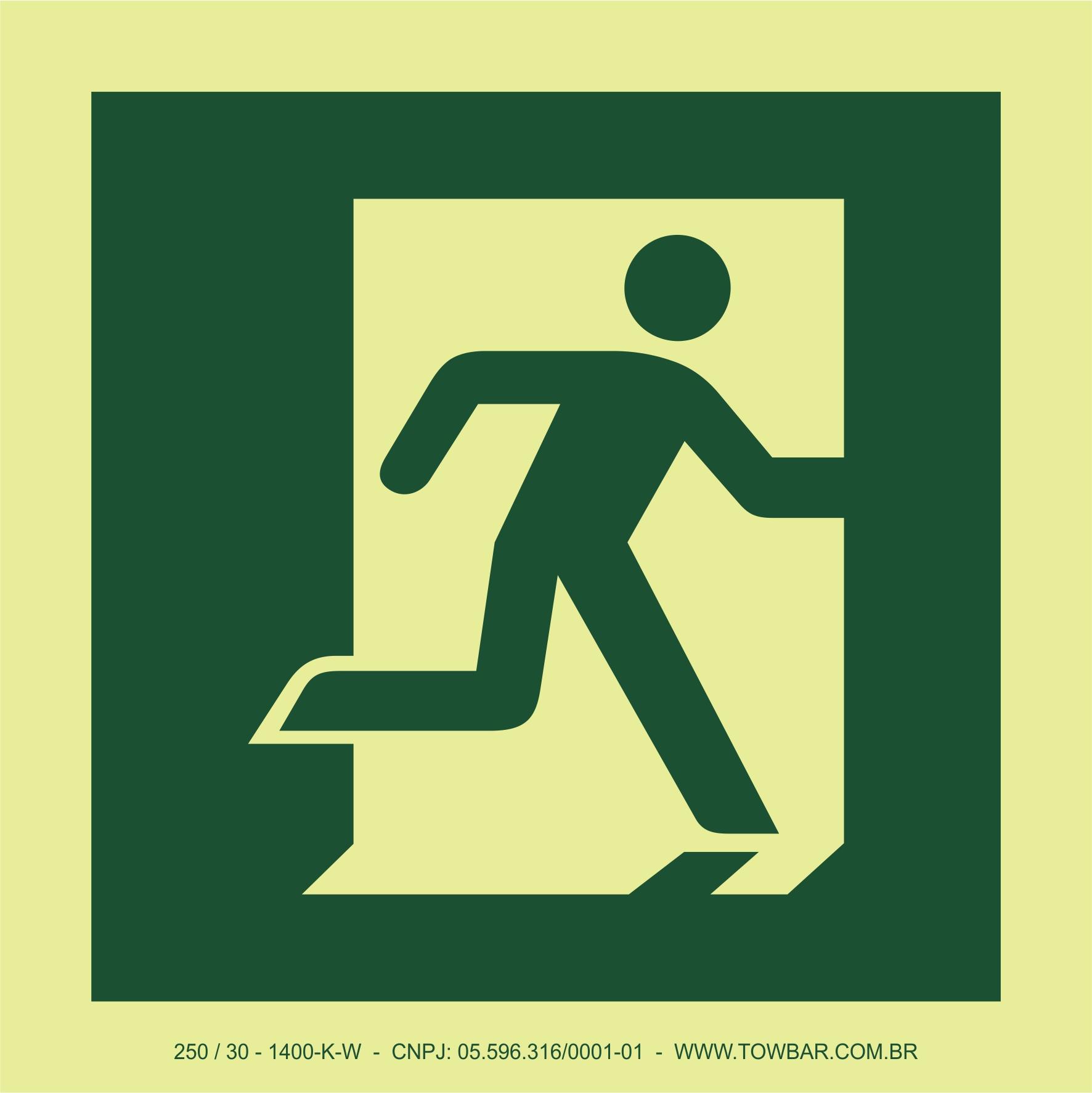 Saída de emergência à direita (Emergency Exit (right hand))  - Towbar Sinalização de Segurança