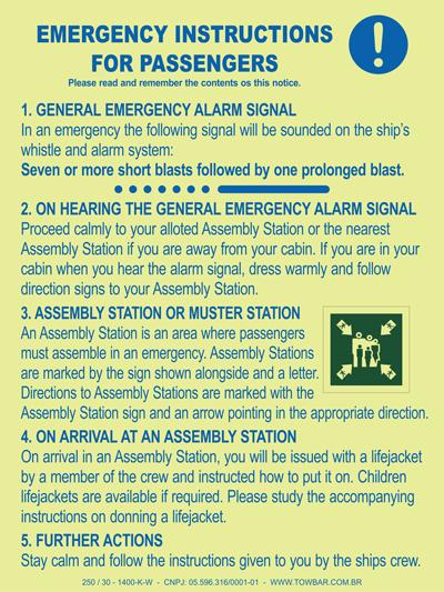 Emergency  Instructions for Passengers  - Towbar Sinalização de Segurança