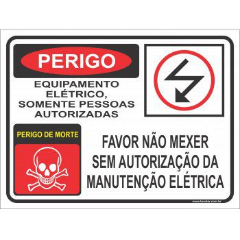 Equipamento elétrico pessoa autorizada  - Towbar Sinalização de Segurança