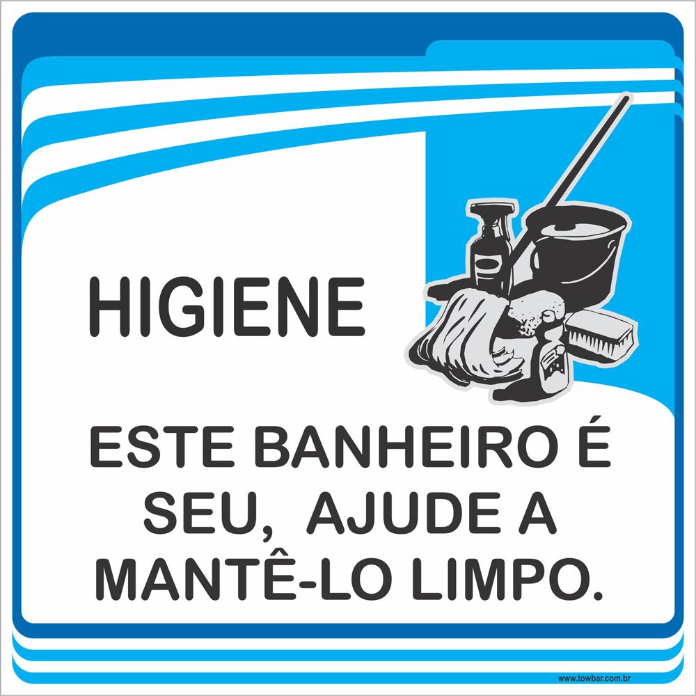 Placa Este Banheiro é Seu Ajude a Mantê-lo Limpo (15x15cm)  - Towbar Sinalização de Segurança