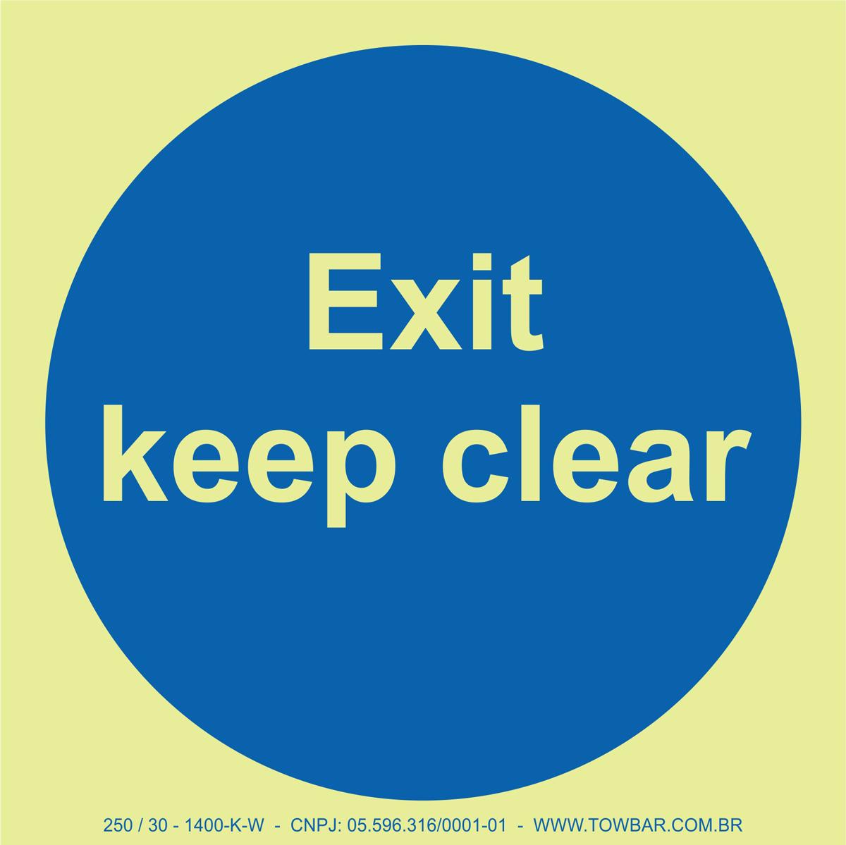 Exit Keep Clear  - Towbar Sinalização de Segurança