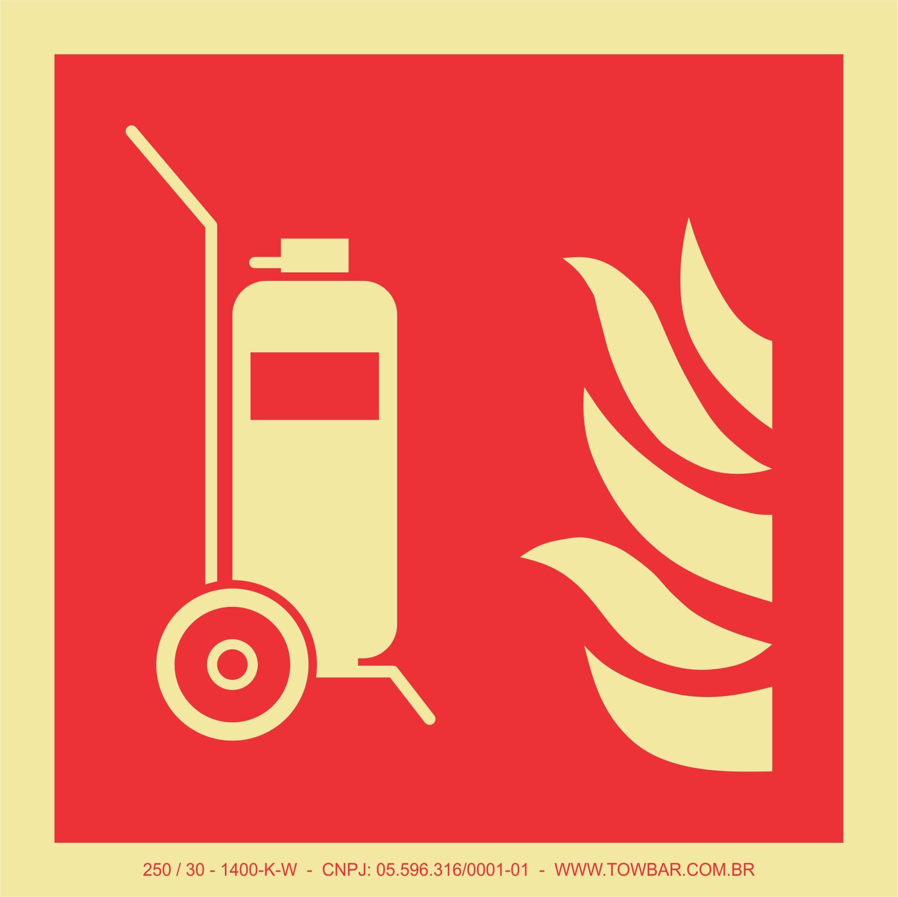 Extintor de incêndio Carreta (Wheeled fire extinguisher)  - Towbar Sinalização de Segurança